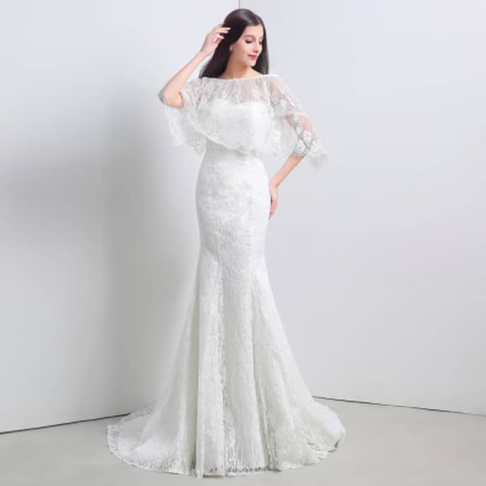 2 In 1 Mermaid Wedding Dress With Vintage Style Cape