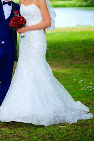 Strapless mermaid bridal dress