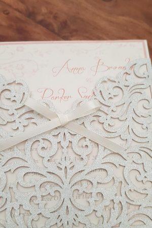 Silver glitter pocket Invitation